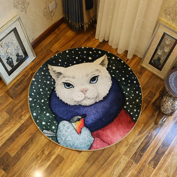 Personality Cartoon Animal Round Non-slip Bath Mat Computer-Chair Carpet Bedroom Study Hanging Chair Carpet Super Soft Living Room Doormat