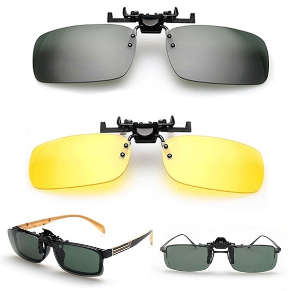 Unisex Day Night Vision Clip-on Flip-up Lens Sunglass Driving Glasses Practical