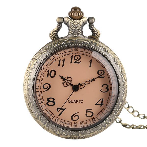 En iyi hediye Yarım Hunter Modern Bronz Kuvars Pocket Watch Yuvarlak Beyaz Arapça Numaraları Analog Ekran Saat Hediyeler ile Kolye saatler