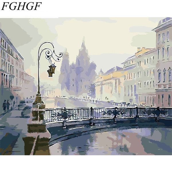 FGHGF Frameless City Landscape DIY Painting By Numbers Hand Painted Oil Painting Unique Gift For Home Decor 40x50cm Artwork