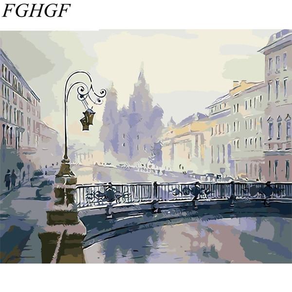 FGHGF Rahmenlose Stadt Landschaft DIY Malen Nach Zahlen Handgemaltes Ölgemälde Einzigartiges Geschenk Für Wohnkultur 40x50 cm Artwork