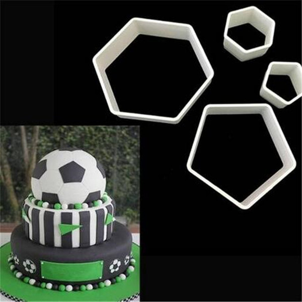 Wholesales 4pc Football Plastic Cutter Fondant Cutter Cookies Cutter Embosser Tool Set Mold Cake Decorating Tool