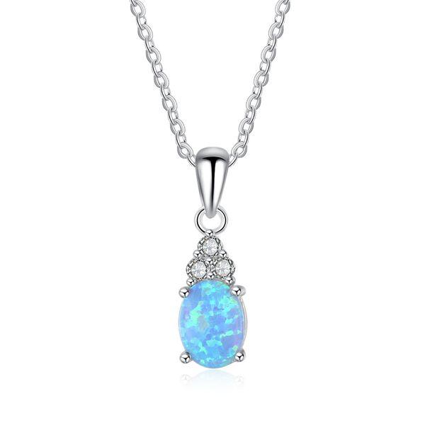 Top qualité populaire mode en argent Sterling 925 avec collier pendentif en opale simulée (avec chaîne de 45 cm) # NE102035