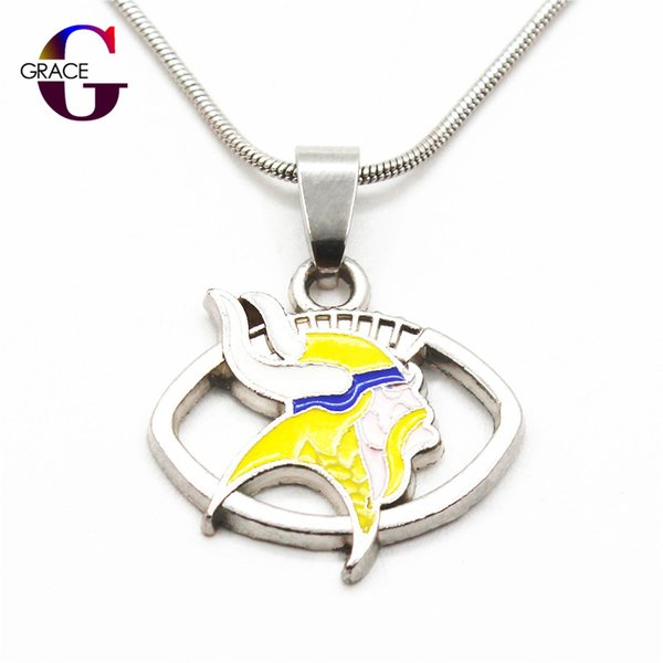 10pcs/lot Enamel Fashion Football Team Sports Pendant necklace with snake chain(45+5cm) necklace For Women Men DIY Jewelry