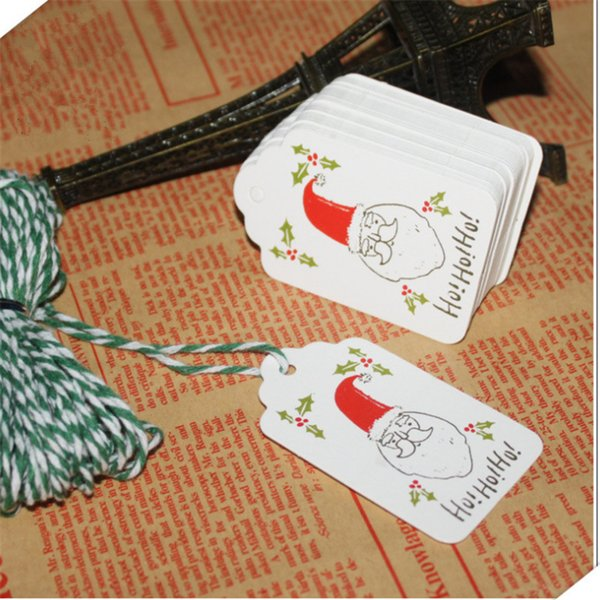 50Pc Paper Tags with Rope DIY Craft Christmas Tag Party Decor Christmas Decoration Peandant New Year Hanging Ornaments NavidadS