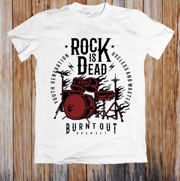ROCK Is DEAD burn OUT мужская футболка 100% хлопок повседневная смешные рубашки официальный футболка новый хипстер O-образным вырезом повседневная новый бренд-Clothing