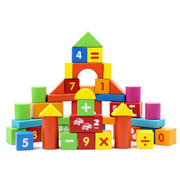 50 Parça renkli ahşap bina dijital blokları çocuk eğitici çocuklar ahşap tuğla Temel istifleme oyuncaklar Fabrika Fiyat Satış Ücretsiz Gemi