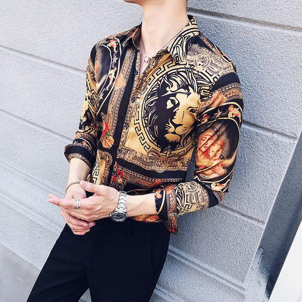 fen258369 / Moda tendência verão flor retro personalidade camisa do negócio estilista coreano de Slim camisa de manga comprida floral ocasional considerável