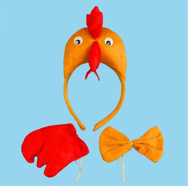 Big Cock Chicken 3D Headband Bow Tie Tail Cosplay Animal 3pcs Set Kids Halloween Performance Props Party Favors
