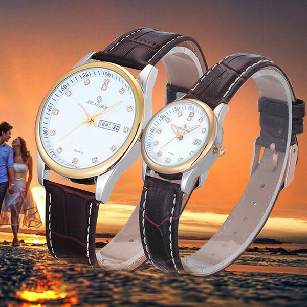 Famous Brand Watches 1Pair Luxury Couples Rhinestore Watch Montre Femme Leather Band Quartz Wrist Watch For Lover