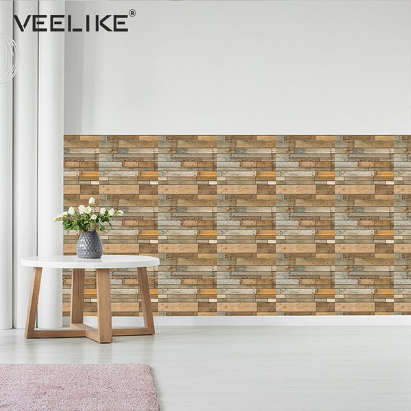 Großhandel Rustikale Vintage 3D Faux Holz Wandpaneele Für Schlafzimmer  Wohnzimmer Selbstklebende Tapete Für Badezimmer Küche Backsplash Fliesen  Von ...
