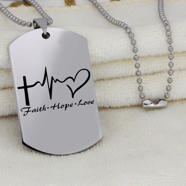 En Acier Inoxydable Inspiré Awareness Necklace Collier FAITH HOPE LOVE Inspirational Jewelry Cadeau Drop Shipping YLQ6168