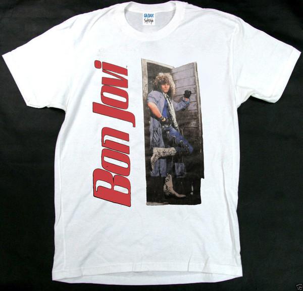 Урожай 80-х годов Бон Джови скользкий, когда мокрый тур мира концерт Майка высокое качество пользовательские печатные топы Hipster тройники футболка