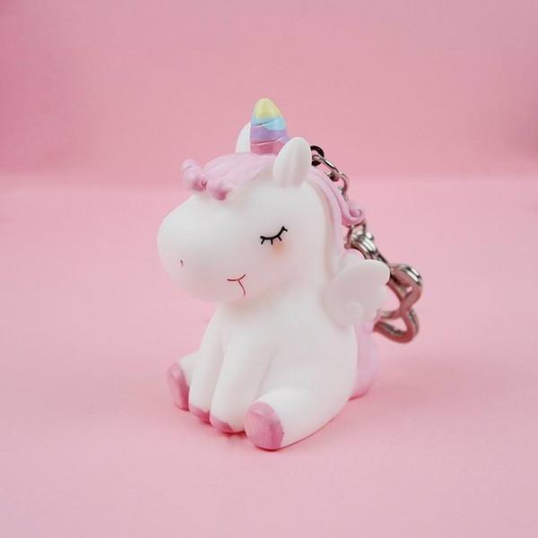 Cartoon Pony Horse Animal Kids Toy Keychain For Women Girl Trinket Metal Key Chains Car Bag Pendent Charm