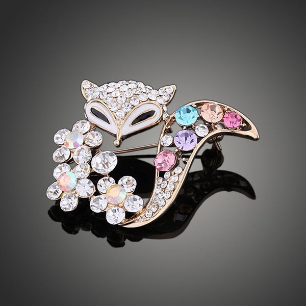 2018 New arrival women lady fashion jewelry alloy fox crystals diamond pins flower brooch Christmas festival gift love