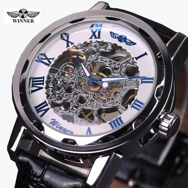 2016 GANADOR hueco mecánico mano-viento hombres mujeres relojes clásico talla esqueleto oro dial correa de cuero genuino reloj de pulsera