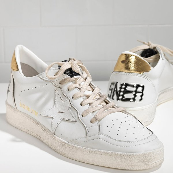 nuovo prodotto 772d2 6c454 2018 Italy Luxury Sneakers Ball Star In Pelle Con Stella In Pelle White  Gold Handmade Do The Old Men Women Lovers Casual Shoes Indoor Soccer Shoes  ...