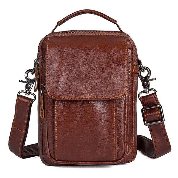 Nesitu marrom couro genuíno pequenos homens mensageiro sacos de pele real crossbody ocasional masculino saco de ombro bolsa para mini ipad m1032