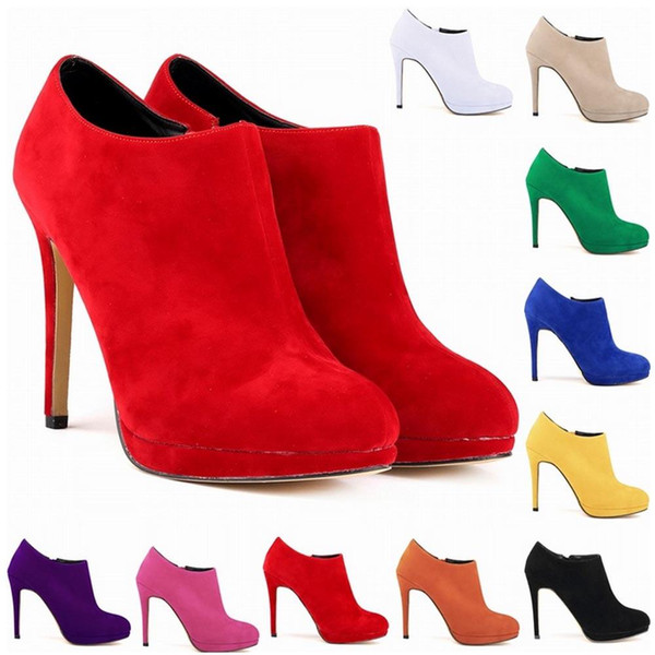 Brand designer-New Fashion Synthetic Flock Platform High Heels Ladies Women Autumn Winter Casual Ankle Boots Shoes Us Size 4-11 D0005