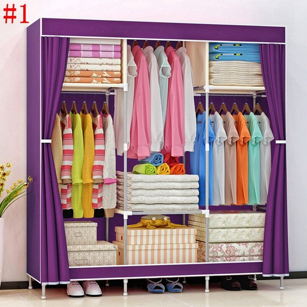 2019 HHAiNi Portable Triple Wardrobe Closet Large Folding Armoire Storage  Bedroom Furniture Fully Enclosed Clothes Organizer From A871461251, $45.07  | ...