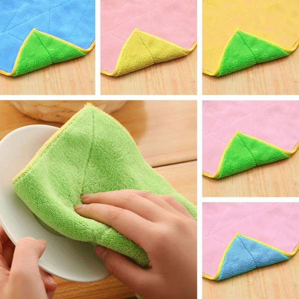 High quality Efficient Double-faced Dish Cloth Microfiber Bamboo Fiber Washing Towel Magic Kitchen Cleaning Wiping Rags Anti-grease