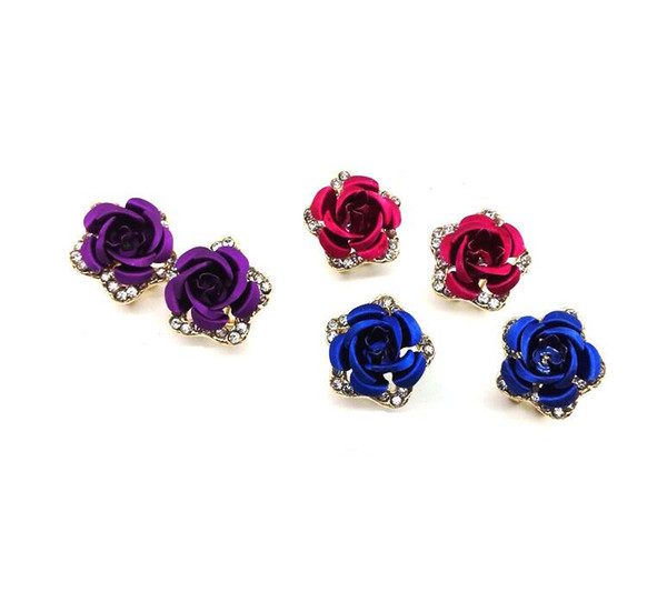 New girls, roses, sweet and small, fresh and refreshing temperament, retro fashions, fashionable queen, hot, fashionable, simple ear studs.