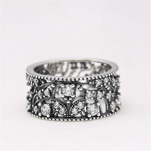Charm Ring Size Marked Branches Tree Flower CZ Solid 925 Sterling Silver European Style Jewelry Findings For Pandora