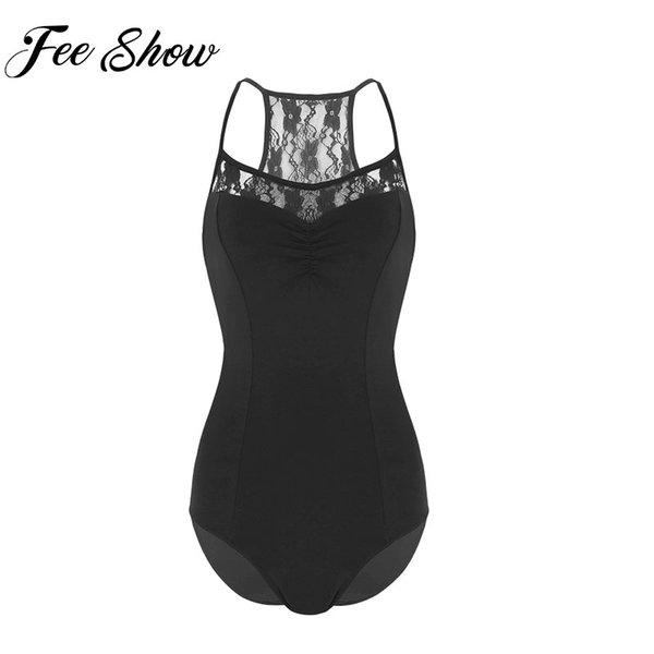 FEESHOW Adult Women Ballet Dance Dancewear Ballerina Lace Bodysuit Latin Gymnastics Leotard Dance Stage Clothes
