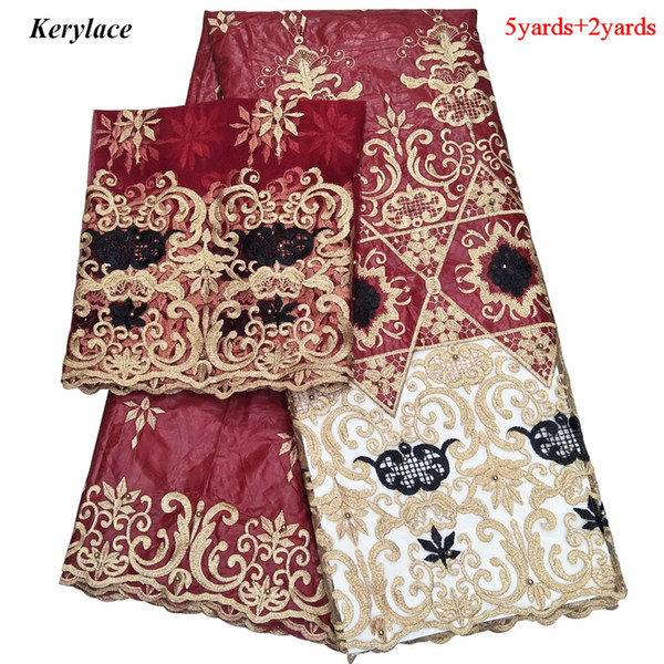 New 8 Colour African Tulle Lace Fabric French Lace Embroidery Fashion Bazin Lace Fabric Cotton Gold Line Textile Dress Women Nigerian Style