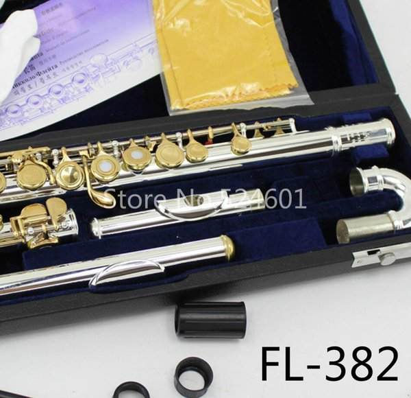MARGEWATE Small Curved Heads Flute FL-382 C Key 16 Holes Open Flutes Silver Plated Body Gold Lacquer Key Flute with Case