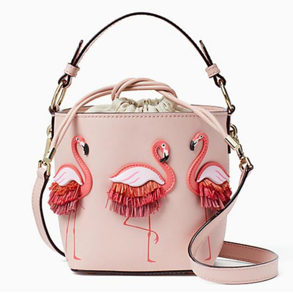 Bolsos de cuero para mujer Bolsos de mujer Flamingo Bucket Bolsos de hombro Bolsos de diseñador Marca Fashion Show Bolsos Mujer