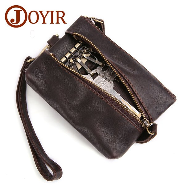 Wholesale Vintage Genuine Leather Key Wallet Men Keychain Covers Zipper Key Case Bag Men Key Holder Housekeeper Keys Organizer Coin Purse