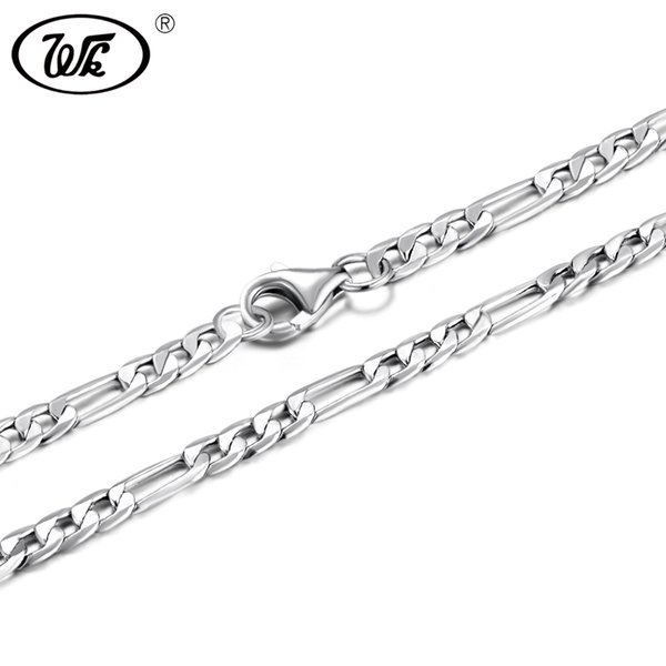 WK 50CM-75CM 3MM 925 Sterling Silver Figaro Chain Men Male Mens Silver Necklace Chains Jewelry 20 22 24 26 28 30 Inch 2018 NM021 S18101105