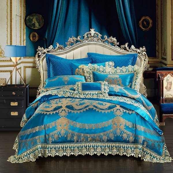 4/6/10Pcs Lace Blue Oriental Luxury Duvet cover set Wedding Royal queen king size Bedding set Bed sheet/spread 38