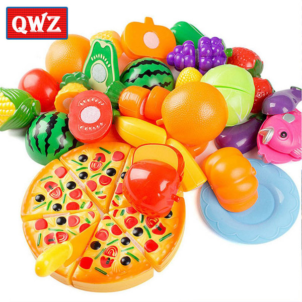 QWZ 24Pcs Plastic Fruit Vegetable Classic Kitchen Cutting Toys Early Development and Education Toy For Baby Kids Children Gifts