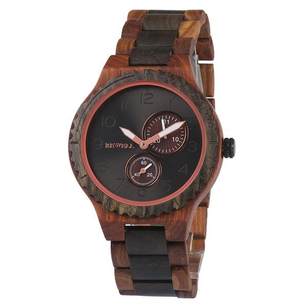 BEWELL Top Luxury Watch Men Watch Wood Vintage Men Cronómetro Temporizador Reloj Analógico Relojes de Negocios Saat Relogio masculino