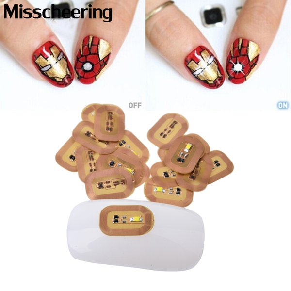 1pcs 3d NFC Japan Design Nail Art Stickers LED Light Chip Automatic Flash Affixed Scintillation Cell Phone Diy Decoration Tools