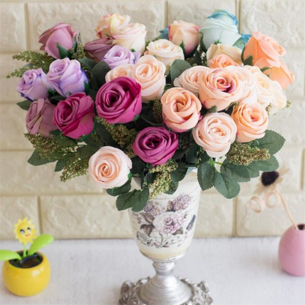 Fake Cored Rose Bunch (6 heads/piece) Simulation Oil Painting Roses for Wedding Home Showcase Decorative Artificial Flowers