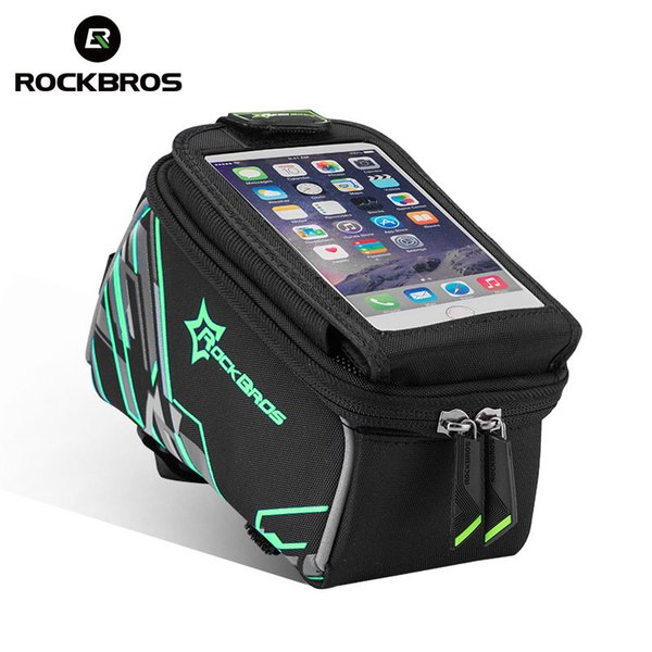 ROCKBROS Top Front Tube Bicycle Bag Large Capacity Touch Screen 6.0'' Phone Bag with Rain Cover Reflective MTB Bike Cycling