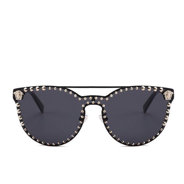 2018 metal cat's eye female sunglasses handmade metal rivets oversized cat's eye brand women's sunglasses with box NX