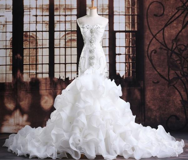 luxurious crystals mermaid wedding gowns expensive bridal vestido de noiva robe de mariage vestido de noiva curto customize wedding gowns