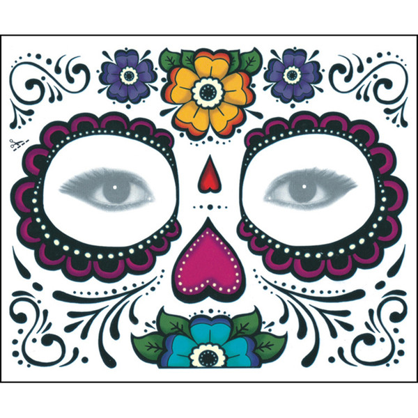 New year Christmas party Facial day of the dead faced tattoo Halloween and masquerade ball must, pretty tattoo sticker by dhl