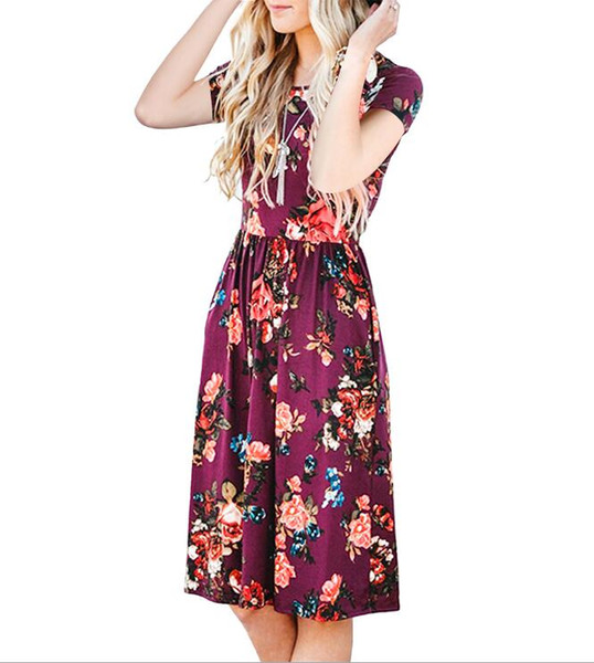 Explosion models European and American printing Round neck short-sleeved women's dress 3 colors S-XXL 333