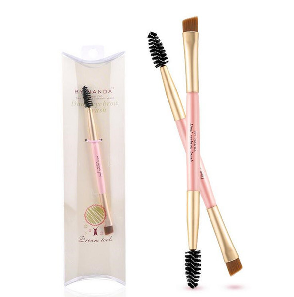 1PC New Pro Bamboo Handle Double End Use Eyebrow Brush Eyebrow Eyeliner Brushes Makeup Tools