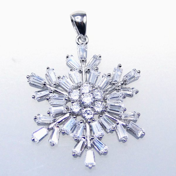 Fashion jewelry 925 silver White snowflake pendant gift Rhodium Plated DR01030010P Free Shipping