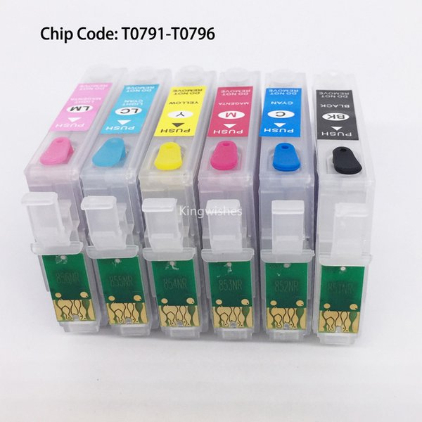T0791-T0796 Refillable Cartridge With Permanent Chip For Epson 1400 PX700W PX800FW P50 PX830FWD Artisan 1430 Without Ink