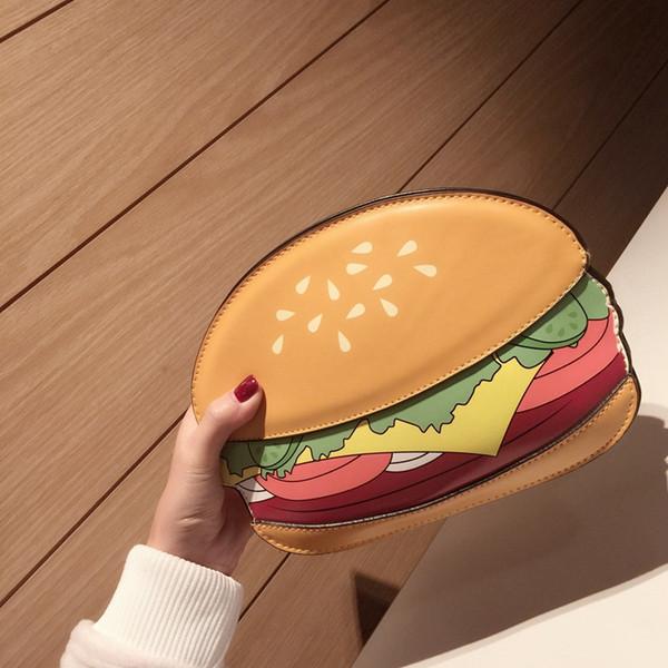 Оптово-Hanup Женщины Уникальные Попкорн Форма Сумка Messenger Женщины Кожаные сумки Сцепление Гамбургер Картофель фри Дизайн сумка Bolsa Feminina