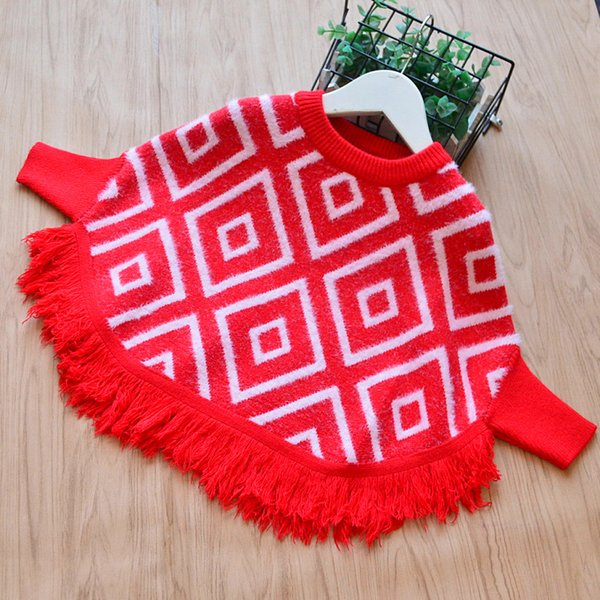 Winter Girls Knit Tassel Poncho Baby Girl Clothes Crochet Plaid Pullover  Kids Clothing Casual Jumper Outwear Children Clothing Girls Poncho Knitting