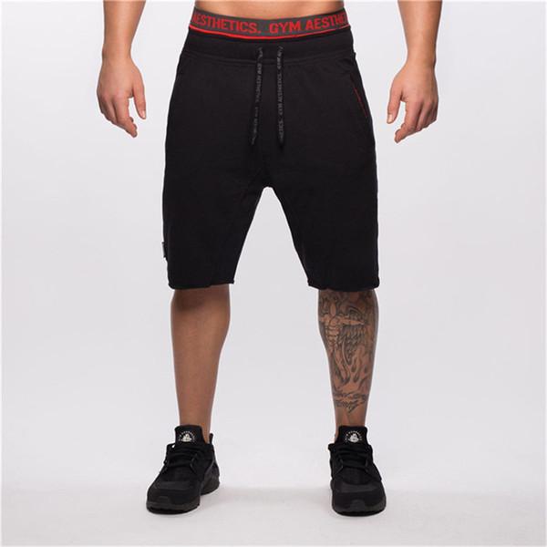 Sport Men Gym Shorts Bodybuilding Running Training Fitness Workout Cotton #@