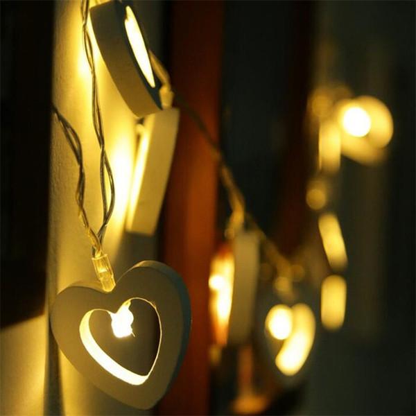 Lamp String Christmas Decorazioni per palchi Heart Love Shaped LED Light San Valentino Wedding Confession Proporre Wooden Special 8xg V